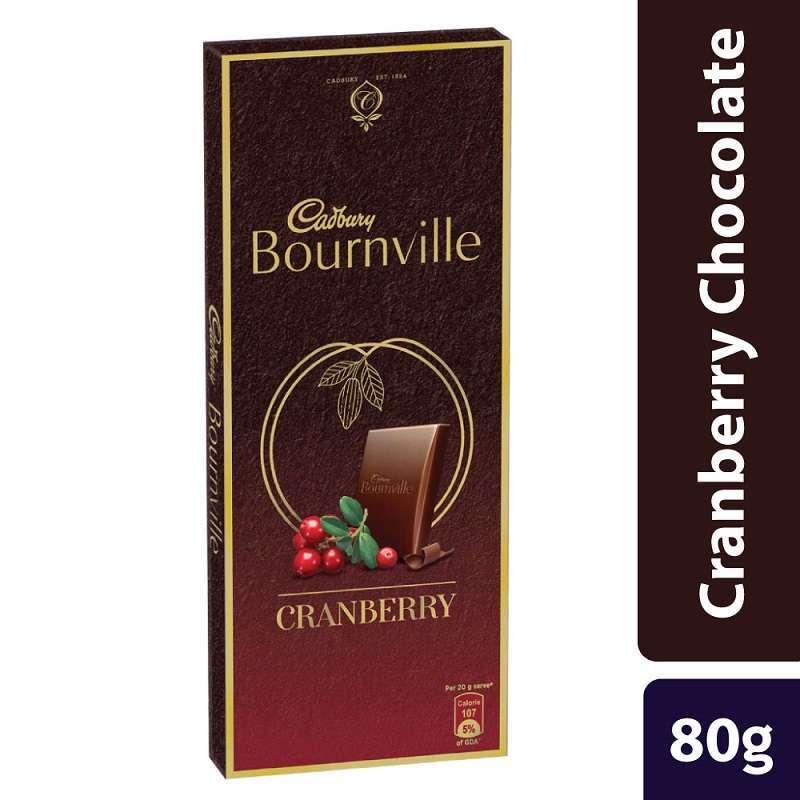 Cadbury Bournville Cranberry Chocolate Bar With Milk & Almonds 80gm