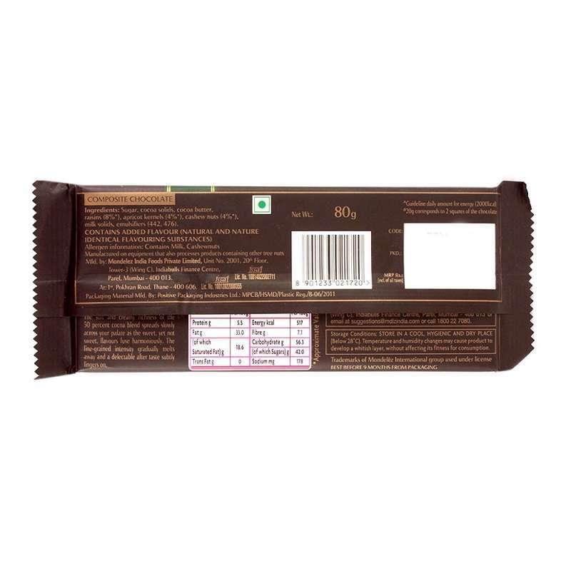 Cadbury Bournville Dark Chocolate Bar with Raisin and Nuts 80gm