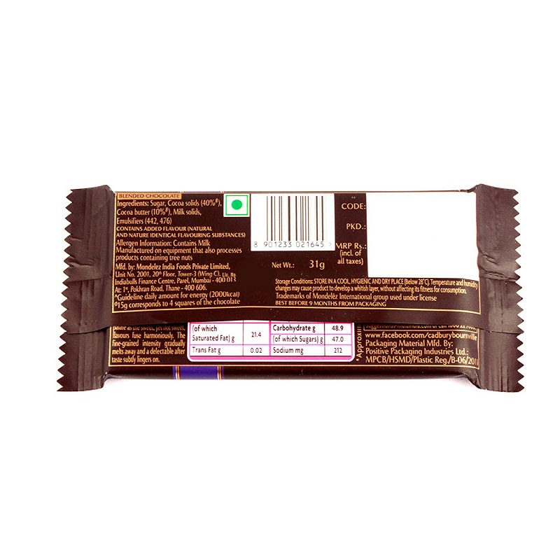 Cadbury Bournville Rich Cocoa Dark Chocolate Bar 31gm