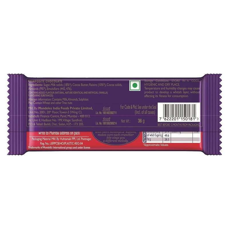 Cadbury Dairy Milk Fruit and Nut Chocolate Bar 36gm