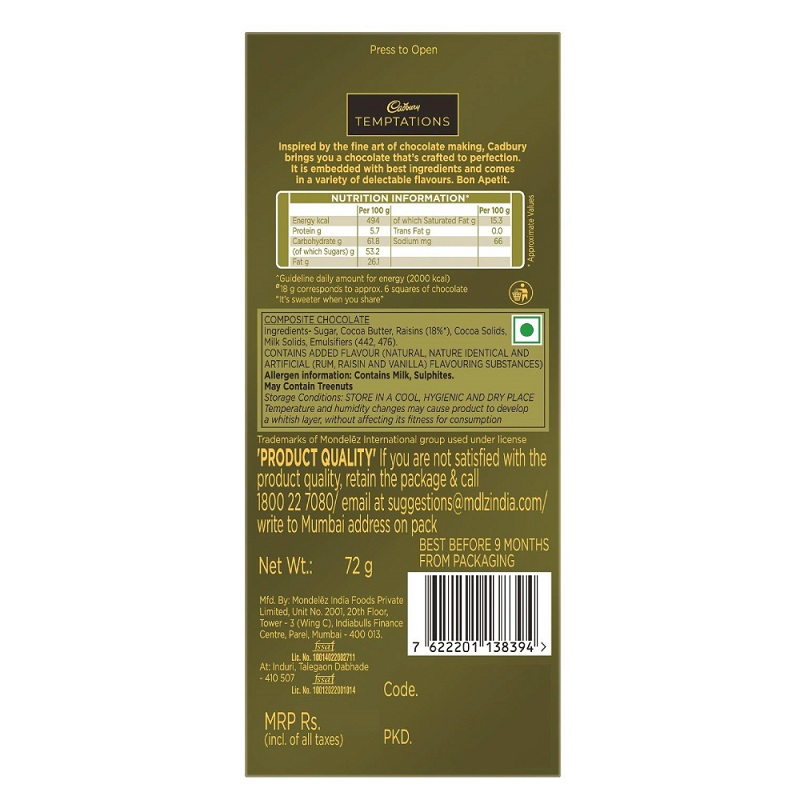 Cadbury Temptation Rum and Raisin Chocolate 72gm